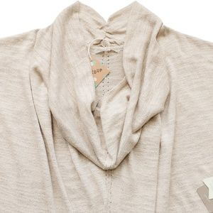 New KNITTED & KNOTTED Neutral Cowled Sweater Large